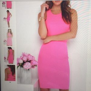 As you are hot pink bodycon midi dress
